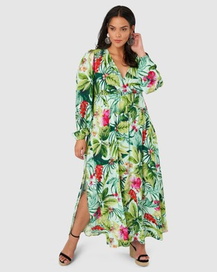 Pink Dusk Paint The Town Maxi Dress - Printed Dresses (Green)