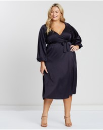 Atmos&Here Curvy - Wrap Front Satin Dress