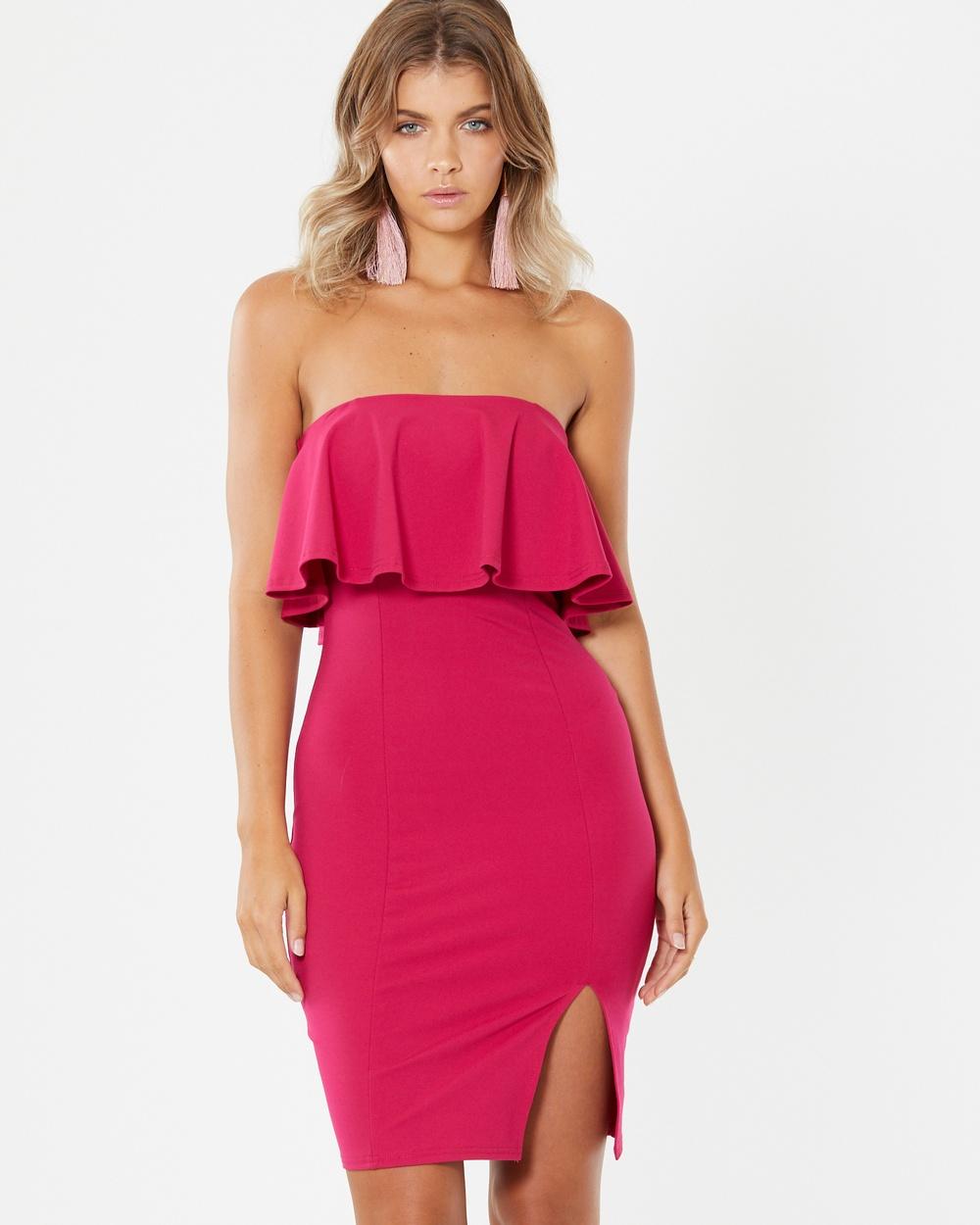 Tussah Zarah Ruffle Dress Bodycon Dresses Fuschia Zarah Ruffle Dress