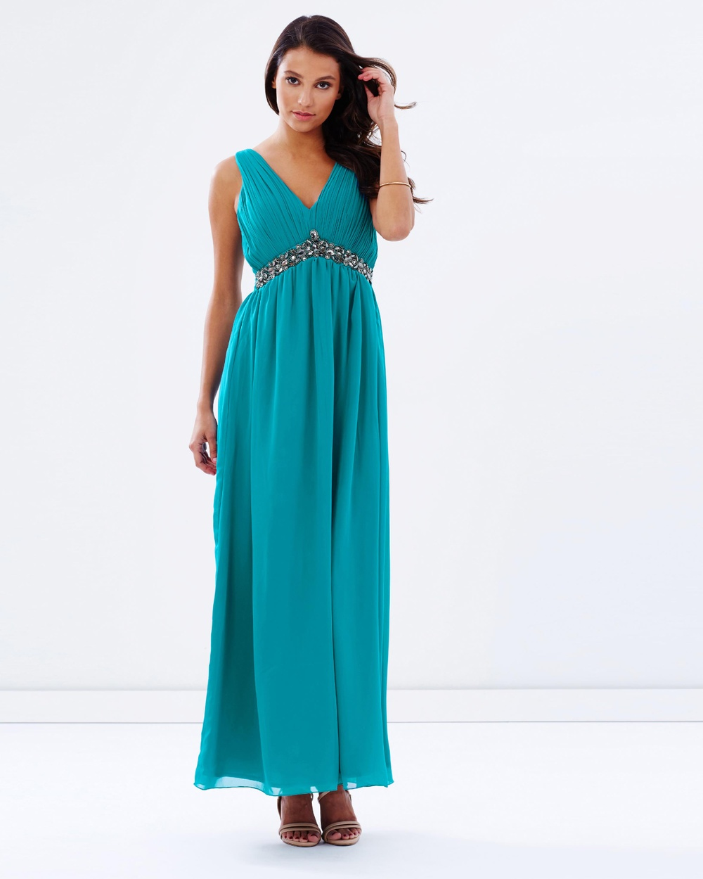 Little Mistress Embellished Waist Maxi Dress Bridesmaid Dresses Turquoise Embellished Waist Maxi Dress