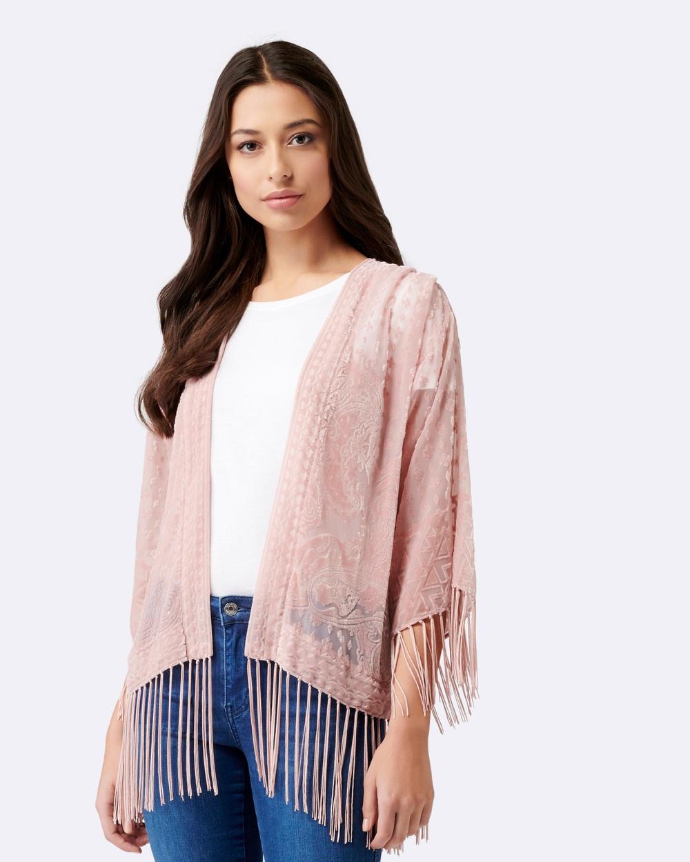 Forever New Tania Burnout Tassel Kimono Tops Blush Tania Burnout Tassel Kimono
