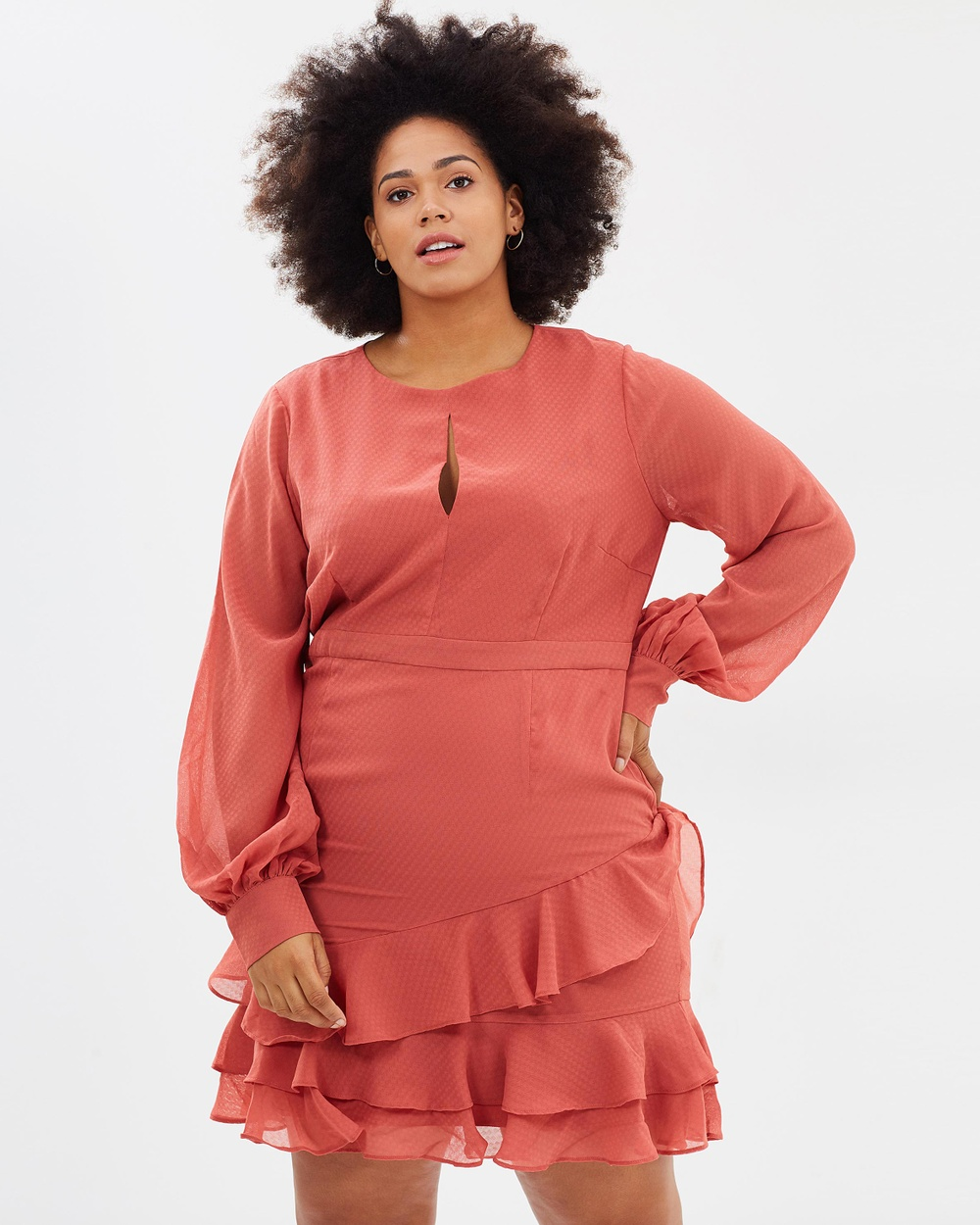 Cooper St CS CURVY Briar Rose Long Sleeve Dress Dresses Cinnamon Red CS CURVY Briar Rose Long Sleeve Dress