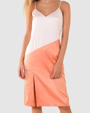 RH Swimwear Colourblock Slip Dress - Dresses (Pinky white/orange)