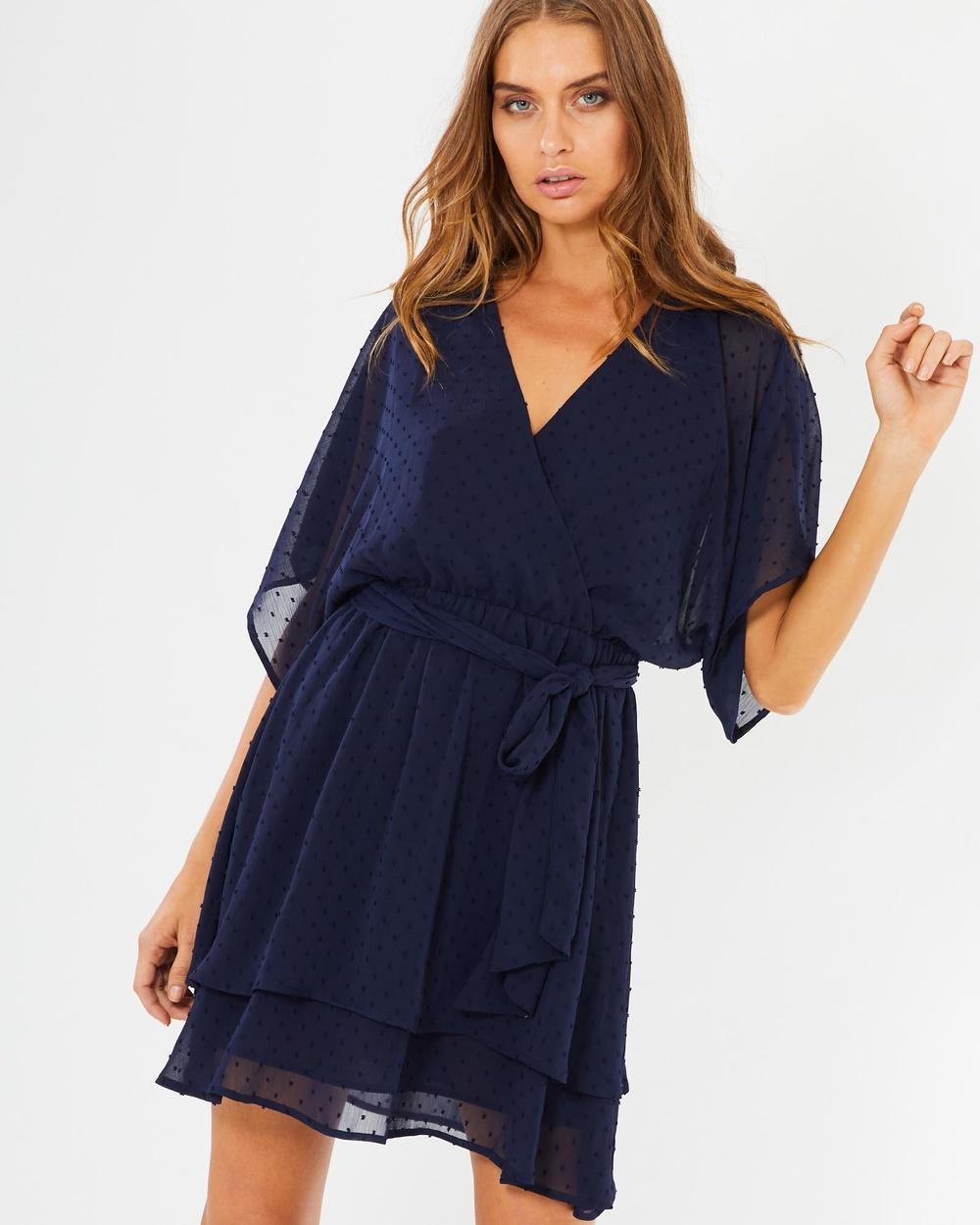 Tussah Burbank Dress Dresses Navy Speckle Spot Burbank Dress