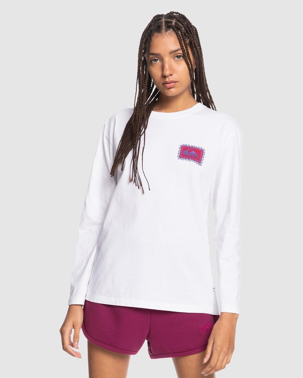 Quiksilver - Womens Standard Organic Long Sleeve T Shirt - Long Sleeve T-Shirts (White) Womens Standard Organic Long Sleeve T-Shirt