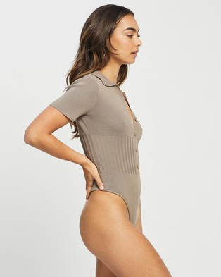 4th & Reckless - Saunders Knit Bodysuit Tops (Mocha)