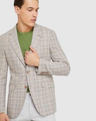 Oxford Blake Linen Blend Checked Blazer - Blazers (Brown)
