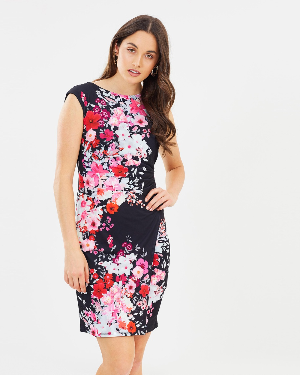 Wallis Freesia Wrap Dress Printed Dresses Black Freesia Wrap Dress