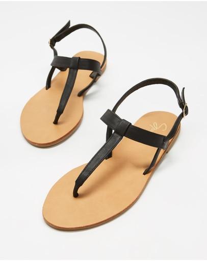 Spurr Taj Sandals Black Smooth