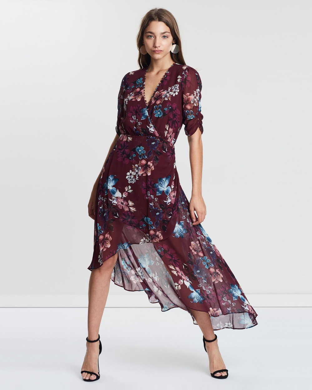 Nicholas Burgundy Floral Wrap Drape Dress