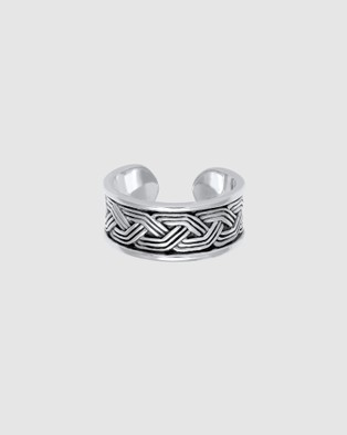 Kuzzoi Ring Band Ring Ornament Design Open in 925 Sterling Silver - Jewellery (Silver)