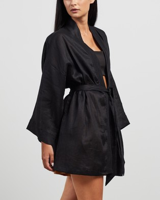 Faithfull The Brand Larissa Robe - Sleepwear (Plain Black)