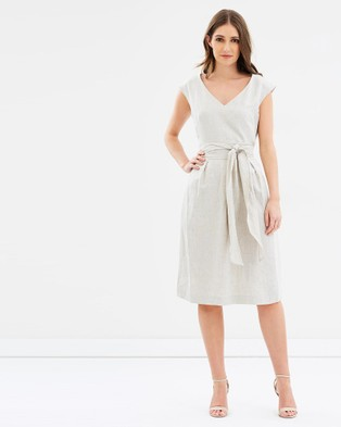 Sportscraft – Frida Linen Wrap Dress Neutrals