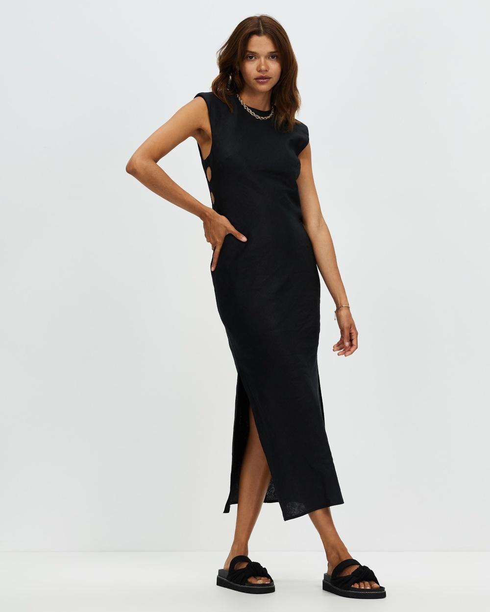 AERE Shoulder Pad Linen Dress Dresses Black