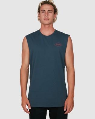 Billabong - Checked Diamond Muscle Tank T-Shirts & Singlets (NAVY)
