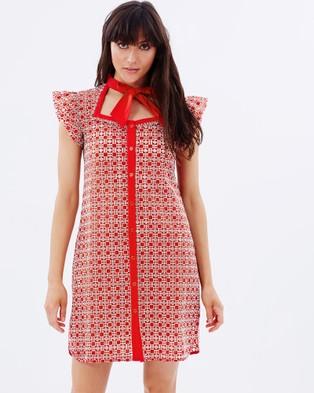 S. WALLIS – Anais Broderie Anglaise Shirt Dress – Dresses (Red)