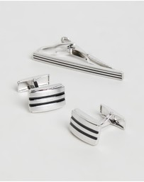 Geoffrey Beene - Striped Cufflinks & Tie Bar Set