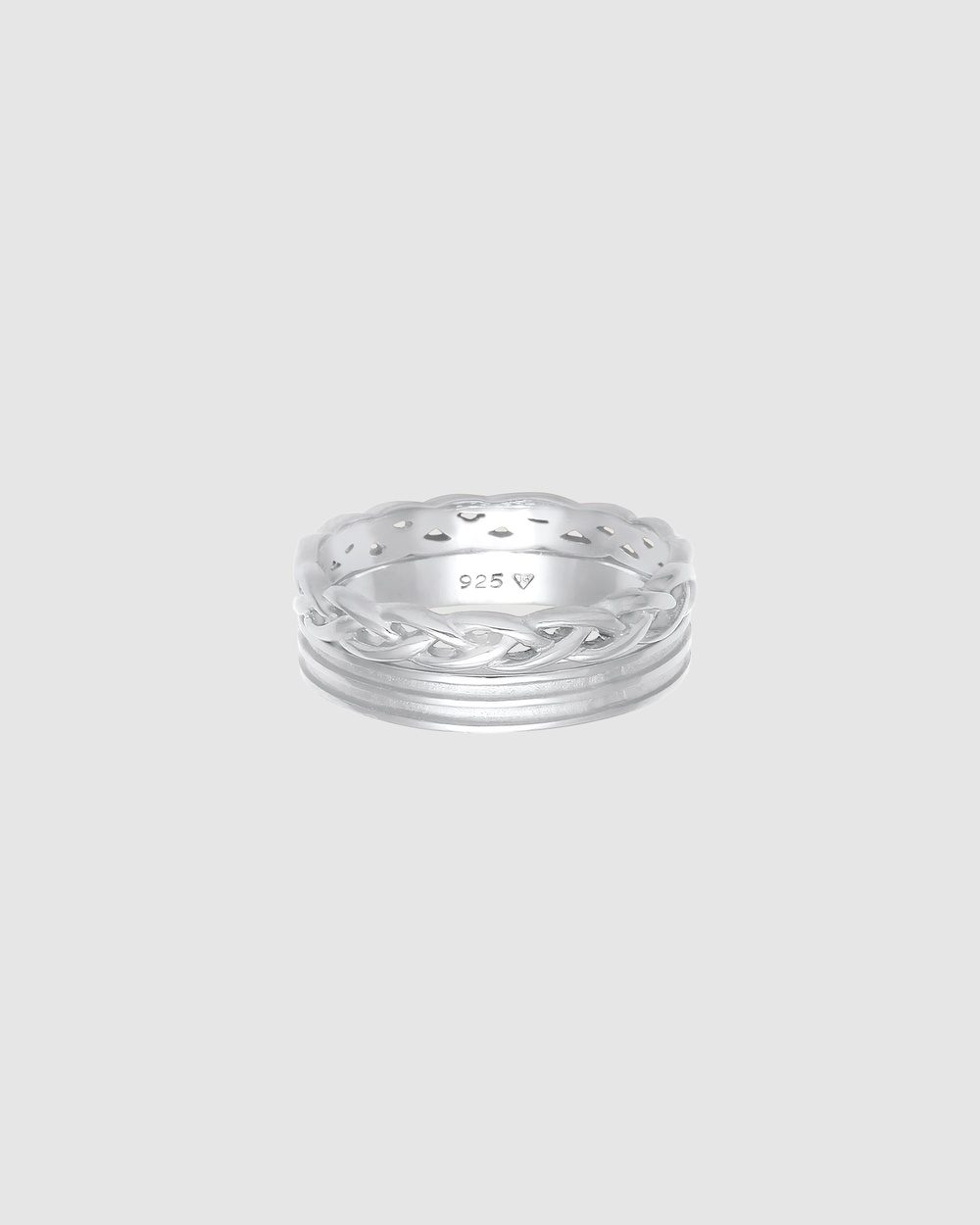 Elli Jewelry Ring Bandring Basic Plait Knot 2 pcs. Set in 925 Sterling Silver Jewellery Silver