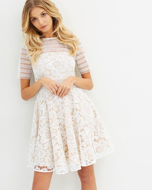 Cooper St – Alessandra Lace Fit And Flare Dress White