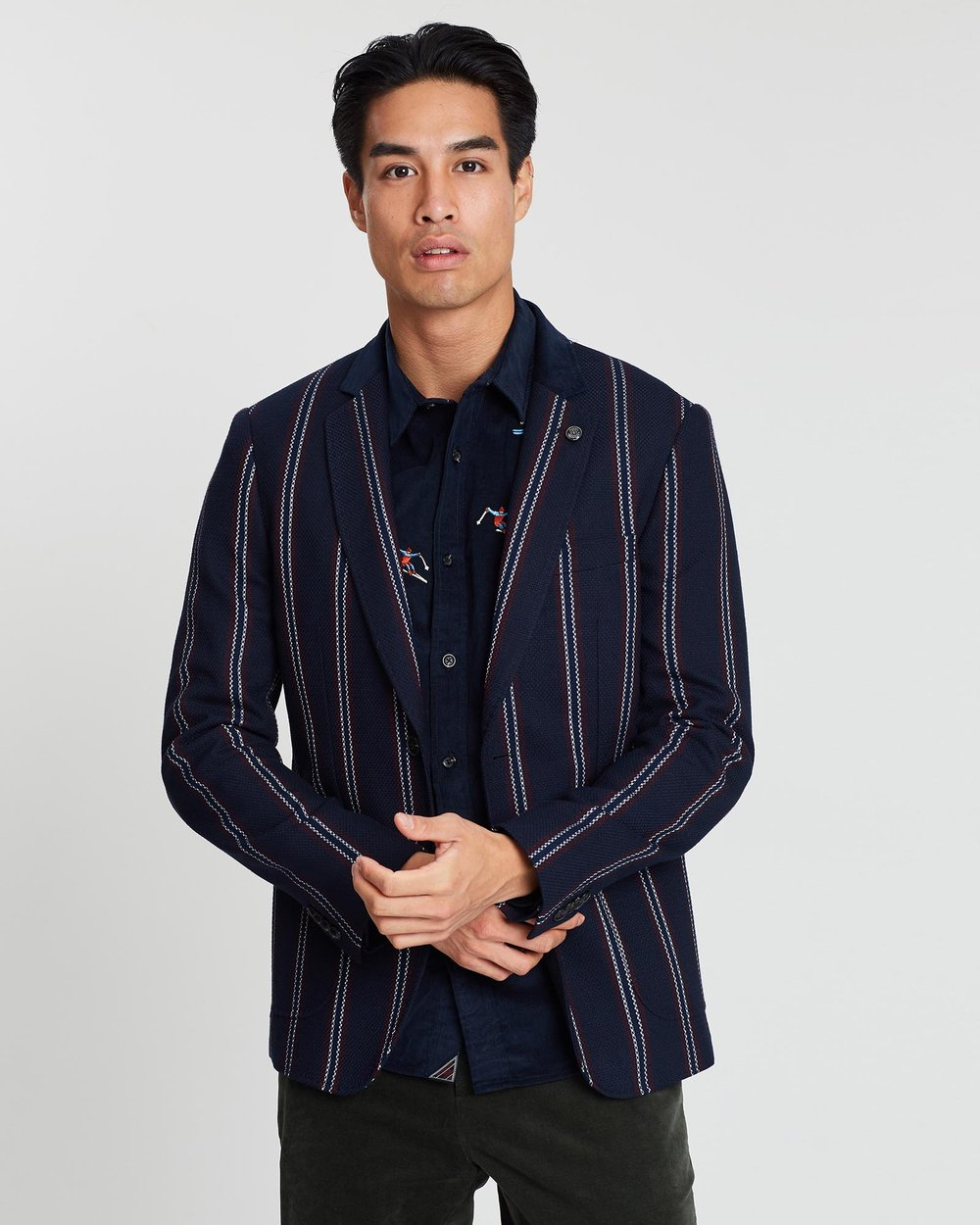 f2be213b3d Chic Structured Weave and Yarn-Dyed Pattern Blazer
