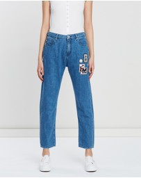 LOVE MOSCHINO - Denim Jeans with College Decoration