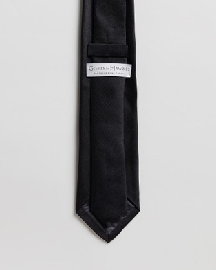 Gieves and Hawkes Plain Silk Tie - Ties (Black)