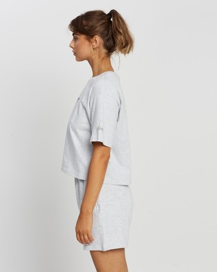 Stussy - Text Waisted Oversized Tee - T-Shirts & Singlets (Snow Marle) Text Waisted Oversized Tee
