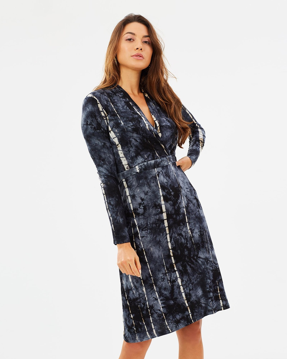 Privilege Smoke Signals Sleeved Wrap Dress Dresses Smokey Smoke Signals Sleeved Wrap Dress