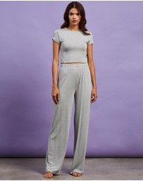 Missguided - Cap Sleeve Crop Top Wide Leg Pyjama Set