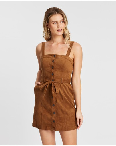 Abercrombie & Fitch Pinafore Button-down Dress Brown