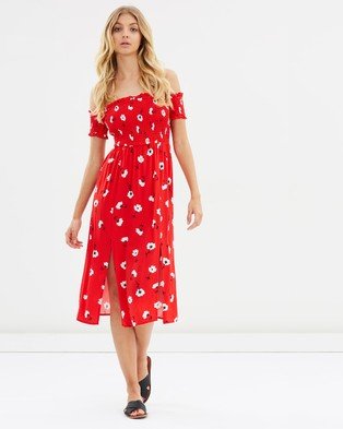 Atmos & Here – Pearl Smocked Midi Dress – Printed Dresses Red