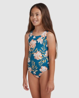 Roxy Girls 8 14 Summer Of Surf One Piece Swimsuit - One-Piece / Swimsuit (INK BLUE HAPPY DAY R)