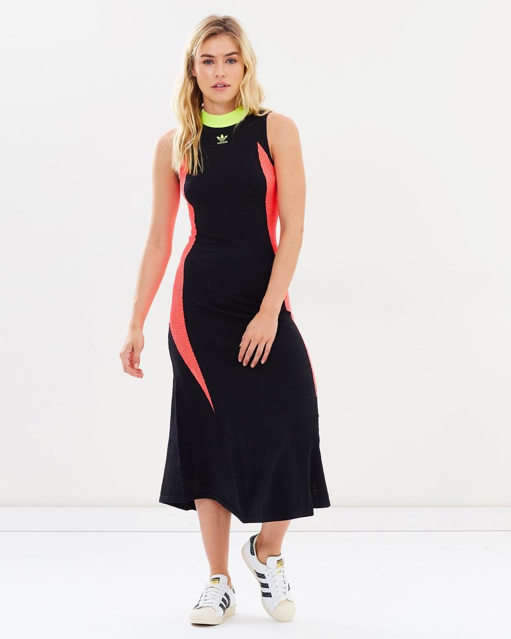 adidas Originals AA 42 Knit Dress Dresses Black & Flash Red AA-42 Knit Dress