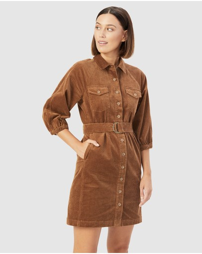 French Connection - Corduroy Puff Sleeve Dress