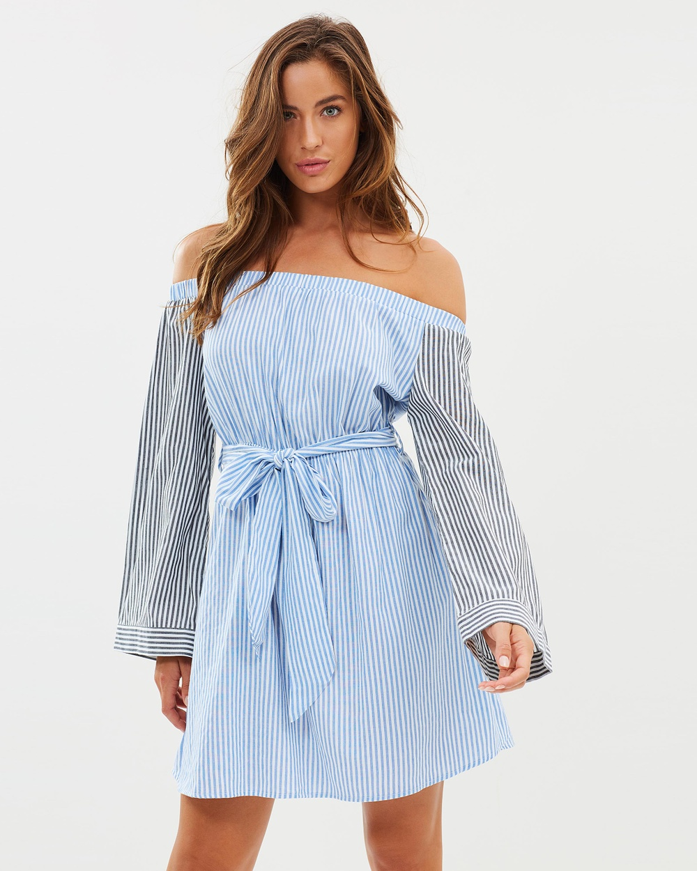 Sass Indi Tie Waist Bell Sleeve Dress Dresses Mixed Stripe Whisper Indi Tie Waist Bell Sleeve Dress
