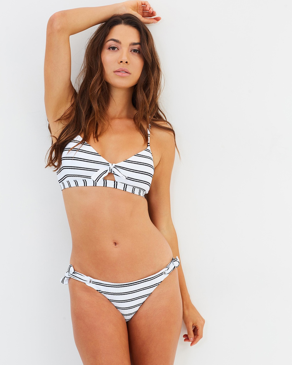 Seafolly Inka Stripe Tie Side Hipster Bikini Bottoms White Inka Stripe Tie Side Hipster