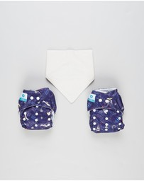 itti bitti - Bare Essentials One Size Fits Most Reusable Cloth Nappy & Bandana Bib 2-Pack