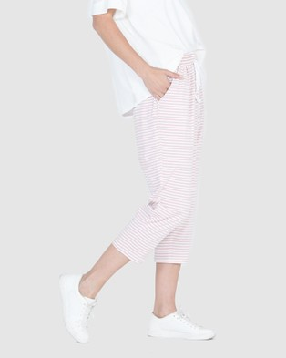 Lincoln St Crop Relaxed Pants - Pants (Smoke Pink Stripe)