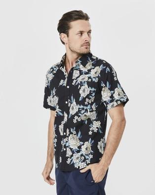 Coast Clothing Japanese Peony Poplin Shirt - Casual shirts (Black)