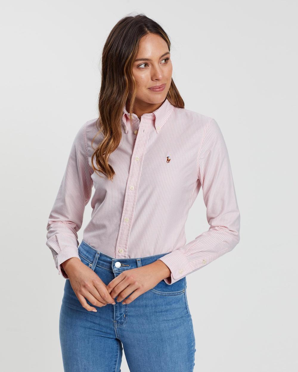 Polo Ralph Lauren Harper Long Sleeve Shirt Tops White & Pink Stripe Harper Long Sleeve Shirt