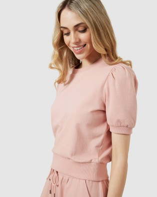 French Connection Cropped Puff Sleeve Sweat - Sweats (DUSTY PINK)