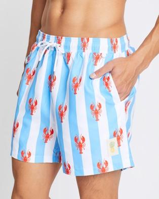 Buba & La Lobsters on Stripes Swim Shorts - Swimwear (Light Blue Stripe)