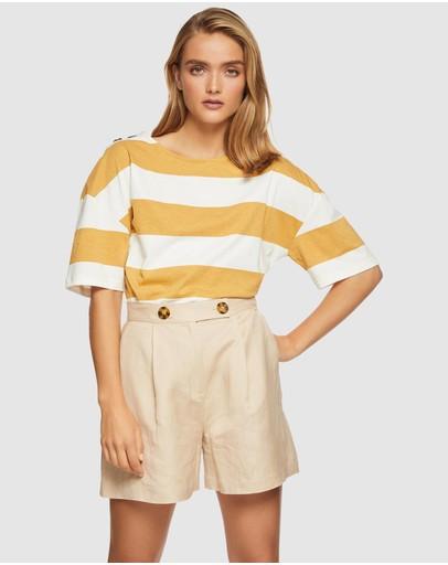 Oxford Hazel Striped T-shirt Mustard/white