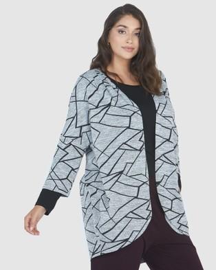 Advocado Plus Pleated Shoulder Cardigan - Jumpers & Cardigans (Windowpane)