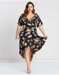Missguided Curve - Floral Printed Wrap Midi Dress