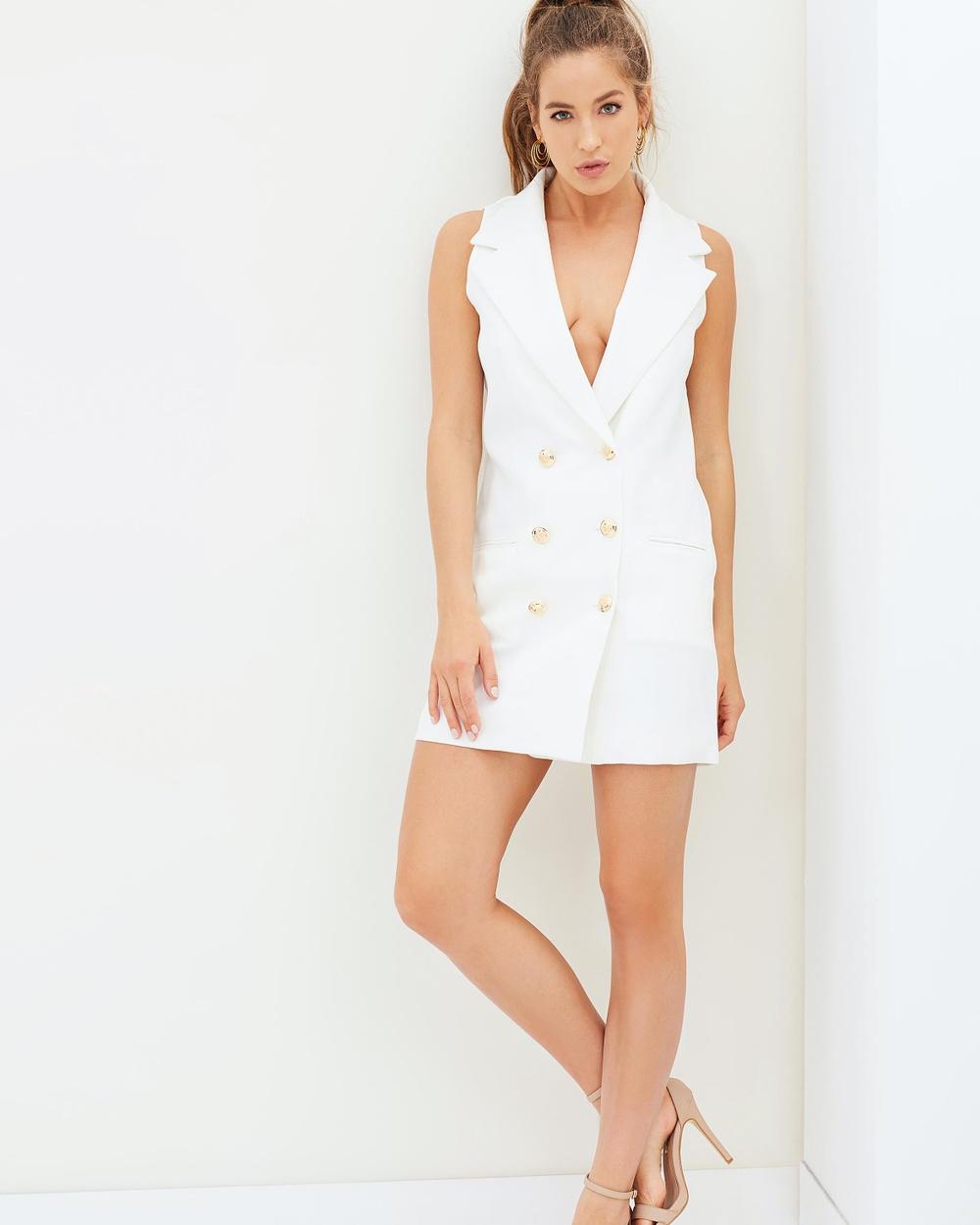 Missguided Tuxedo Wrap Dress Dresses White Tuxedo Wrap Dress