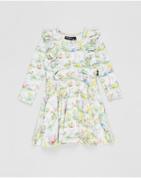 Rock Your Kid - ICONIC EXCLUSIVE - Spring Bunnies LS Frill Dress - Kids