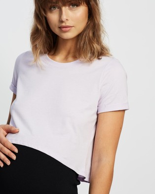 Cotton On Maternity Maternity High Low Short Sleeve Top - Tops (Soft Frosty Lilac)