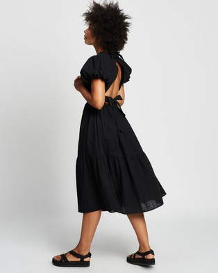 REVERSE Tie Back Midi Dress - Dresses (Black)