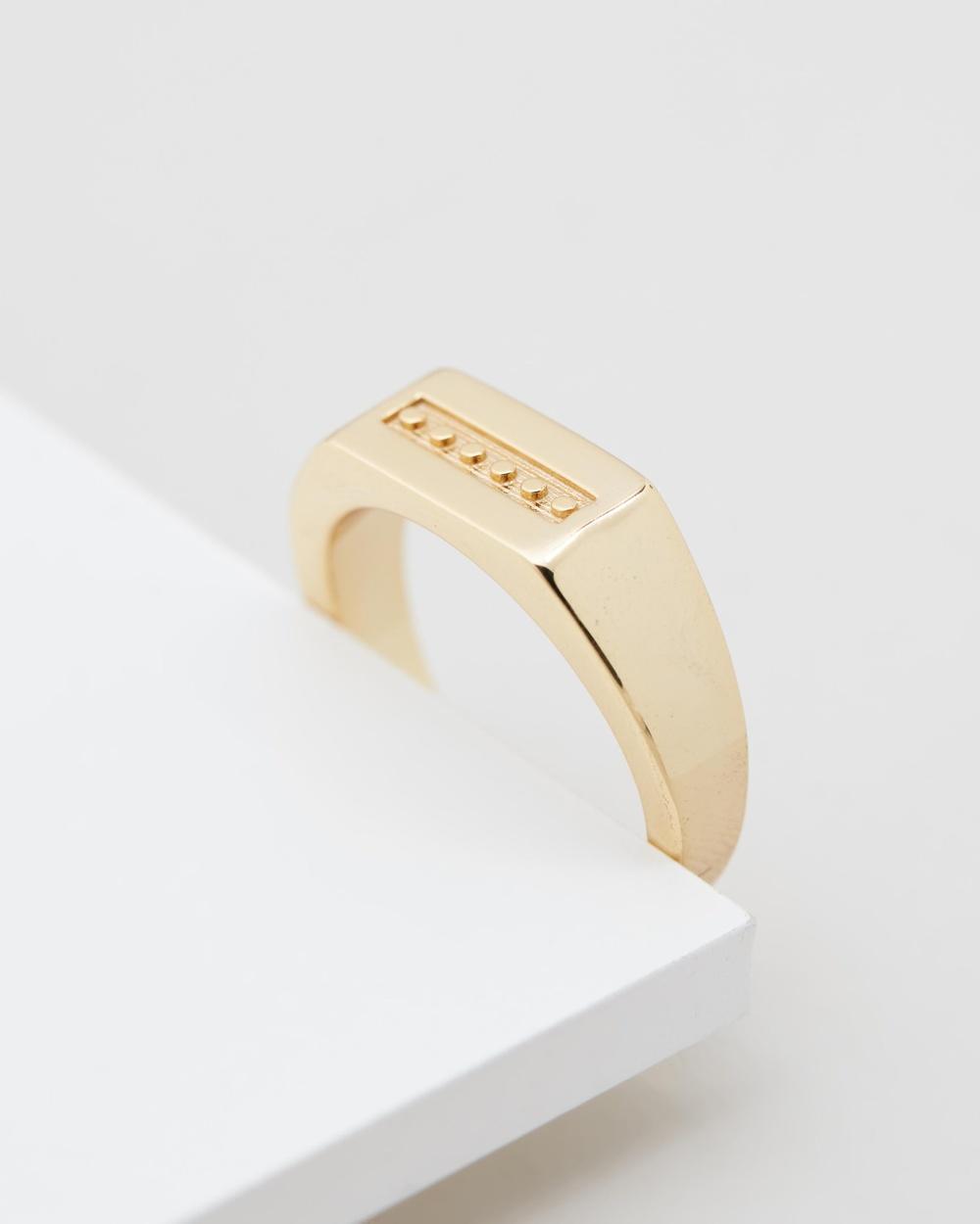Serge DeNimes Rectangle Signet Ring Jewellery Gold